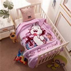 倍美毯業 2019新款卡通兒童蓋毯幼兒園毛毯 兔子紫