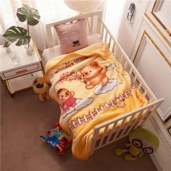倍美毯業 2019新款卡通兒童蓋毯幼兒園毛毯 小熊-黃