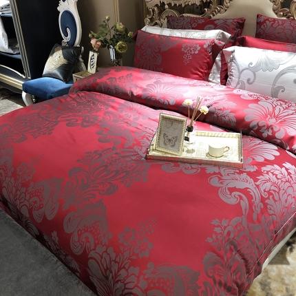 涞乐新品高端婚庆四件套100支色织提花床上用品 罗曼蒂