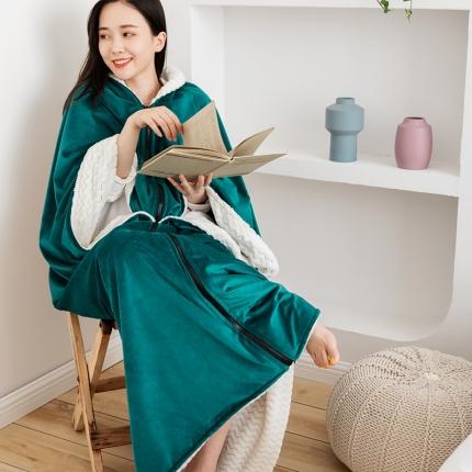2021新款丽丝绒绣花毛毯懒人毯披肩披风单人办公室午睡斗篷毯