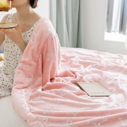 (總)雪兔絨燙金毛毯被子加厚雙層法蘭絨毯 單雙人午休沙發蓋毯