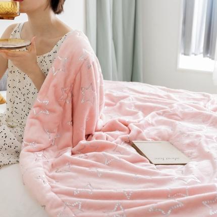 (总)雪兔绒烫金毛毯被子加厚双层法兰绒毯 单双人午休沙发盖毯
