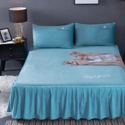 (總)卡倫家紡 2019新款水晶絨繡花保暖床裙 床罩三件套