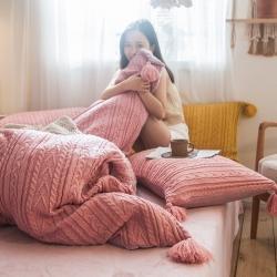 卡姿家紡 2019新款針織毛線系列四件套 針織毛線豆沙