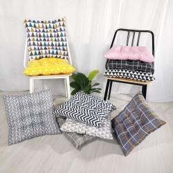 (總)方款綁帶棉麻風格坐墊磨毛椅子墊辦公椅墊學生墊餐椅榻榻米