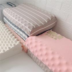 外贸原单无印良品MUJI天然乳胶枕带钢印条纹刺绣款成人