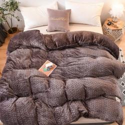 加厚冬季珊瑚絨被套法蘭絨單床單麥穗提花