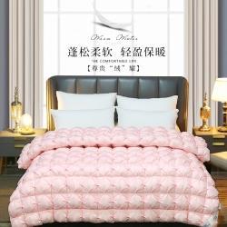 日久全棉羽絨被鵝絨被子保暖加厚冬被子被芯可訂做各種尺寸粉色