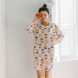 小春日和 2019針織棉睡衣第一季 白小花睡裙