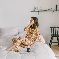 小春日和 2019針織棉睡衣第一季 黃小花套裝