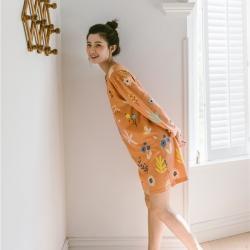 小春日和 2019針織棉睡衣第一季 秋橙睡裙