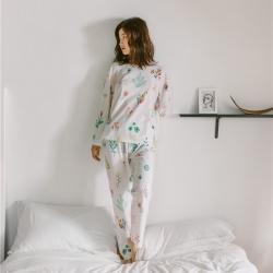 小春日和 2019針織棉睡衣第一季 雅白套裝