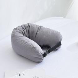 描樸科技 2019新款全棉水洗棉可拆洗乳膠顆粒U型枕 淺灰