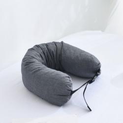 描樸科技 2019新款全棉水洗棉可拆洗乳膠顆粒U型枕 深灰