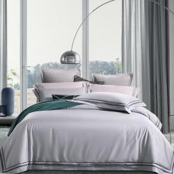 隨性家居 60長絨棉貢緞酒店休閑風高端四件套純白拼色橄欖綠灰