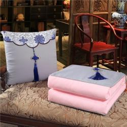 雷娜 2019新款中国结刺绣抱枕被 中国风-银灰