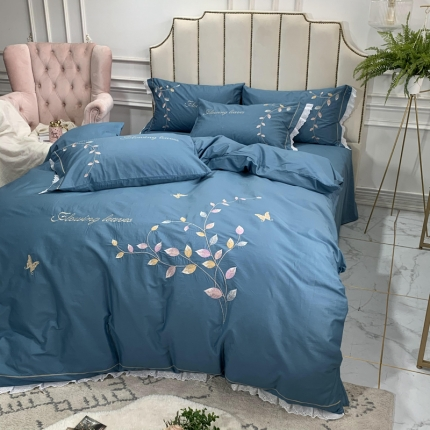 (总)英镑家纺 爆款全棉花边刺绣四件套床单款床笠款