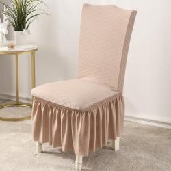 2020款金針提花裙擺款椅套彈力連體椅子套 跨境外貿專供