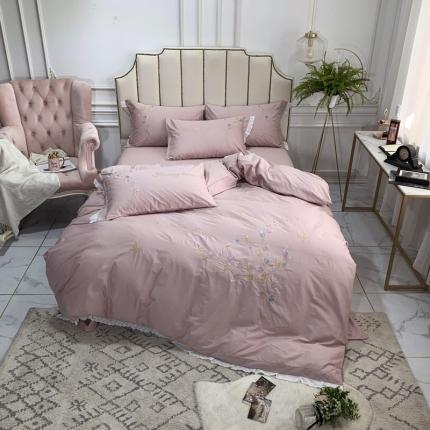 英镑家纺 爆款全棉花边刺绣四件套床单款床笠款