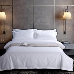 爱贝馨 2019新款酒店宾馆120支贡缎纯白四件套床笠款