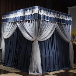 新太陽 2020新款宮廷水洗棉+帳紗雙層床幔 深藍色