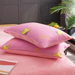 庫存 化纖磨毛拼法萊絨枕套