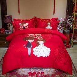 (总)蒂爵 全棉大红活性婚庆生态磨毛印花款四件套