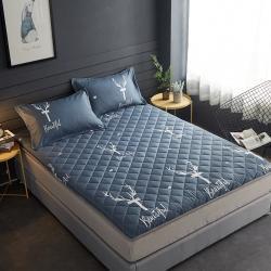 (總)迪樂妮 新款水洗棉單邊5厘米加厚床墊 鹿-藍