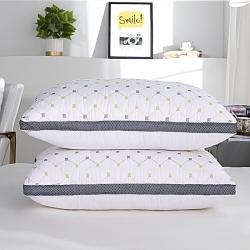 興絲露枕芯 絎繡立體雙邊枕黃藍格