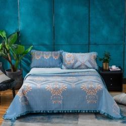 (总)莎果 2020新款水晶绒花边床盖备货充足
