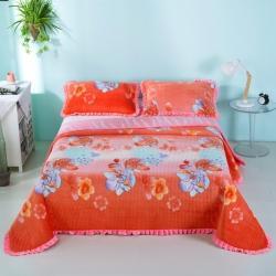 莎果 2020新款水晶绒花边床盖备货充足 富贵花开