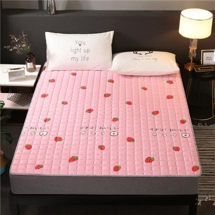 富亿莱床垫 2019磨毛多用四季防滑薄款床垫 可爱草莓