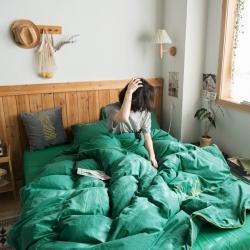爾米 2020新款輕奢水洗棉全棉四件套滾邊繡花暮光-亮綠
