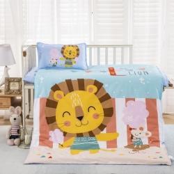 樂秀家紡 全棉卡通兒童幼兒園被子三件套純棉六件套含芯開心獅王