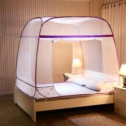 海虹蚊帐 2020新款方顶免安装钢丝蚊帐 蜻蜓紫