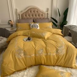 (总)家家发60S长绒棉欧式刺绣贡缎全棉纯棉四件套