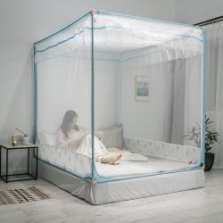 (總)唯檸2020新款三開門加高加密拉鏈方頂外穿桿坐床蚊帳