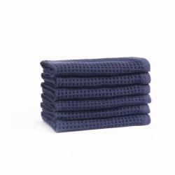 宜色家2020新款棉蜂窩紋毛巾系列方巾-海軍藍34*35cm