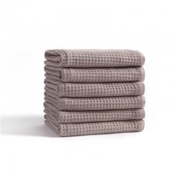 宜色家2020新款棉蜂窩紋毛巾系列 面巾-灰色34*74cm