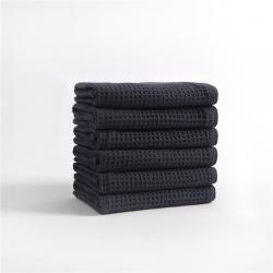 宜色家2020新款棉蜂窩紋毛巾系列面巾-海軍藍34*74cm