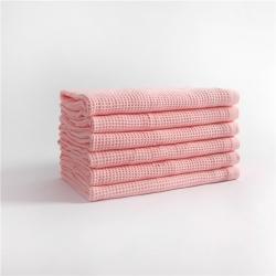 宜色家2020新款棉蜂窩紋毛巾系列浴巾-粉色70*140cm