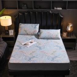 總-今喜 新款天絲乳膠涼席床笠床墊冰絲席軟席枕套三件套模特圖