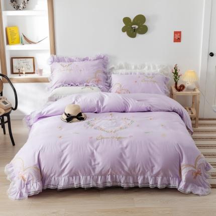 迪欧芙2020绣花床裙款韩版四件套全棉四件套 玛奇朵 紫色