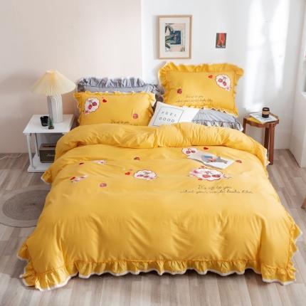 迪欧芙2020绣花床单款韩版四件套全棉四件套 甜美午后 黄色