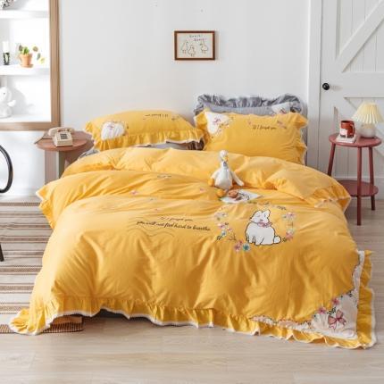 迪欧芙2020绣花床单款韩版四件套全棉四件套 优长假日 黄色