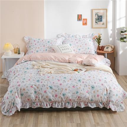 迪欧芙 2020新款清新系韩式床单款四件套 多彩