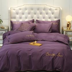 麗陽家紡 全棉60s長絨棉四件套純棉刺繡純色三件套 帝王紫