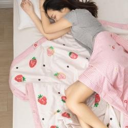 暖陽 可水洗100%里外全棉棉花被空調被純棉夏被草莓甜心