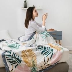 暖陽 可水洗100%里外全棉棉花被空調被純棉夏被 羽葉