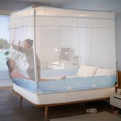 (總)凱兒升級床笠款寶寶防摔坐床三開門拉鏈蚊帳單雙人家用
